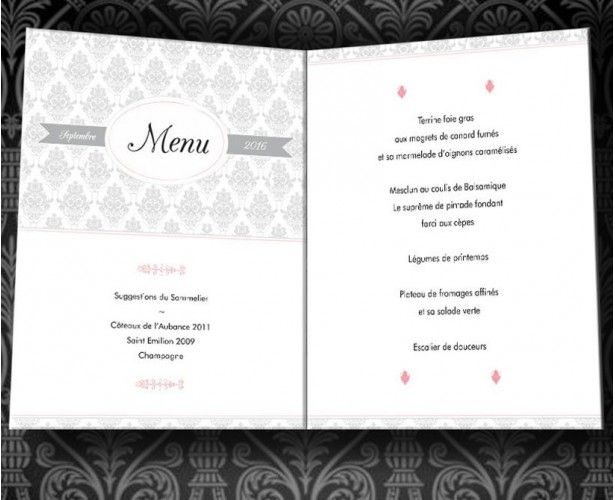Menu Vintage Baroque