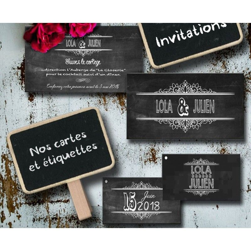 carte d invitation vintage ardoise pizarra. Black Bedroom Furniture Sets. Home Design Ideas