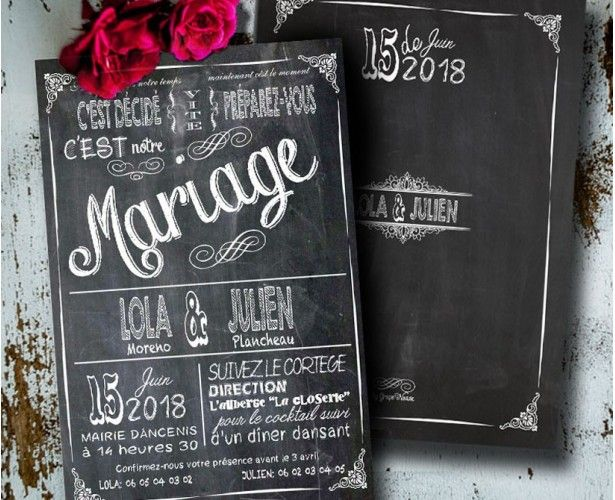 faire part mariage vintage ardoise pizarra. Black Bedroom Furniture Sets. Home Design Ideas