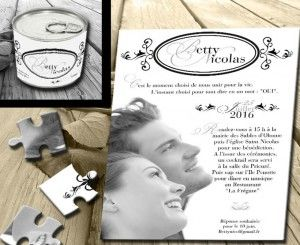 Faire part mariage original conserve puzzle Photo