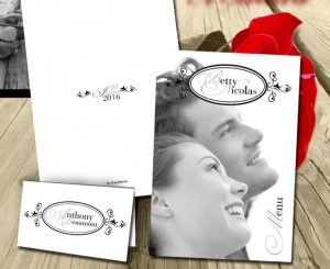 Menu de mariage photo N&B