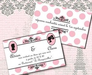 Carte d'invitation mariage vintage Pretty