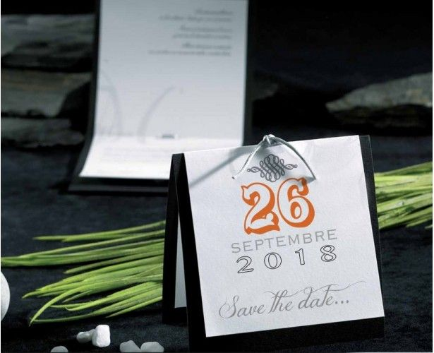 Échantillon faire-part mariage save the date Onyx