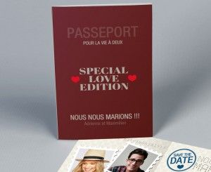 Faire-part mariage passeport Love Edition