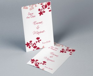 Save The Date mariage rouge et blanc Sylvestre