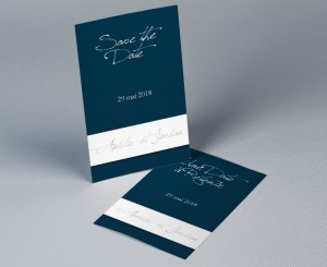 Save The Date mariage bleu et blanc Neptune
