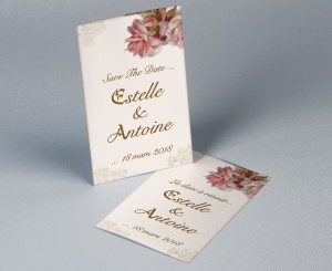 Save The Date mariage vintage fleurs Royal