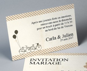 Carte d'invitation recto verso assortie à votre faire part de mairage 2