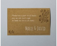 Carte d'invitation mariage kraft Paname 3
