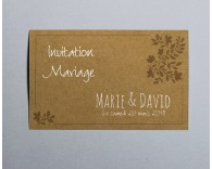Carte d'invitation mariage kraft Paname 4