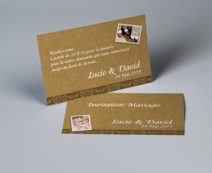 Carte d'invitation mariage vintage kraft Stamp