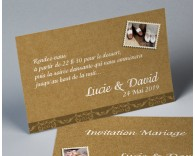 Carte d'invitation mariage vintage kraft 2