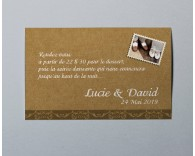 Carte d'invitation mariage vintage kraft 3