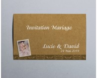 Carte d'invitation mariage vintage kraft 4
