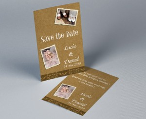 Save The Date mariage vintage kraft Stamp