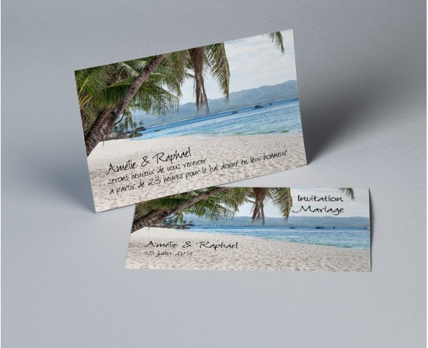 Carte d'invitation mariage photo paysage Atoll 1