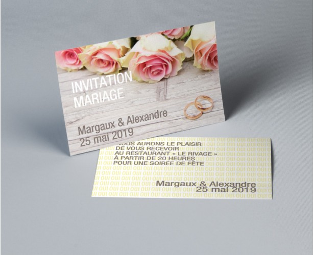 carte d invitation mariage romantique roses de ronsard. Black Bedroom Furniture Sets. Home Design Ideas