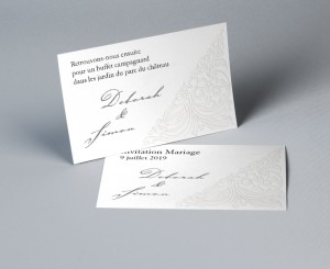 Carte d'invitation mariage traditionnel blanc Luxury