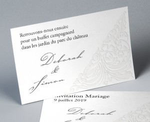 Carte d'invitation mariage traditionnel blanc Luxury 2