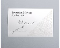 Carte d'invitation mariage traditionnel blanc Luxury 4