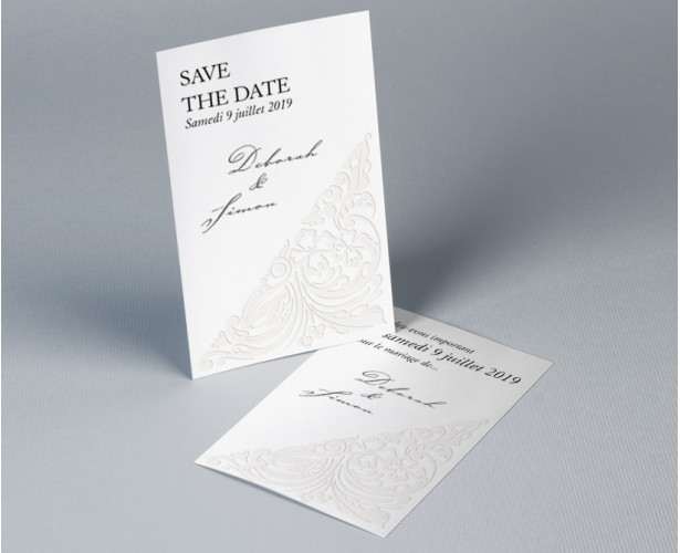 Save The Date mariage traditionnel blanc Luxury 1