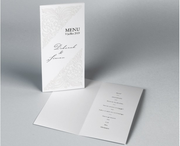 Menu mariage diptyque traditionnel blanc Luxury 1