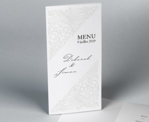 Menu mariage diptyque traditionnel blanc Luxury 2