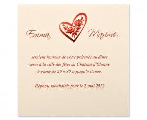 Carte invitation mariage Ruby