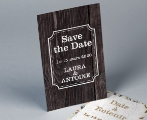 Save the date mariage nature bois DarkWood