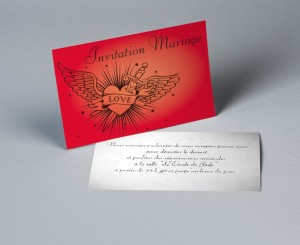 Carte invitation mariage dessin Tattoo
