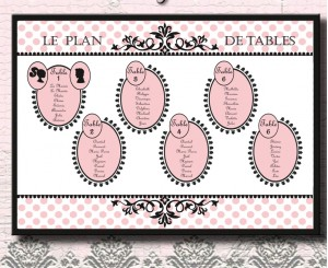 Panneau plan de tables vintage Pretty