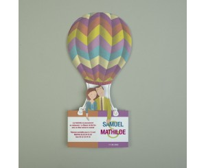 Faire-part de mariage original 3D Pop'up montgolfière multicolore